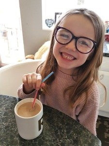 River trying her hot cocoa