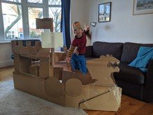 Alex made an incredible Viking ship out of cardboard