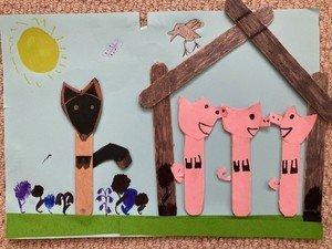 Eli's wonderful Three Little Pigs artwork.