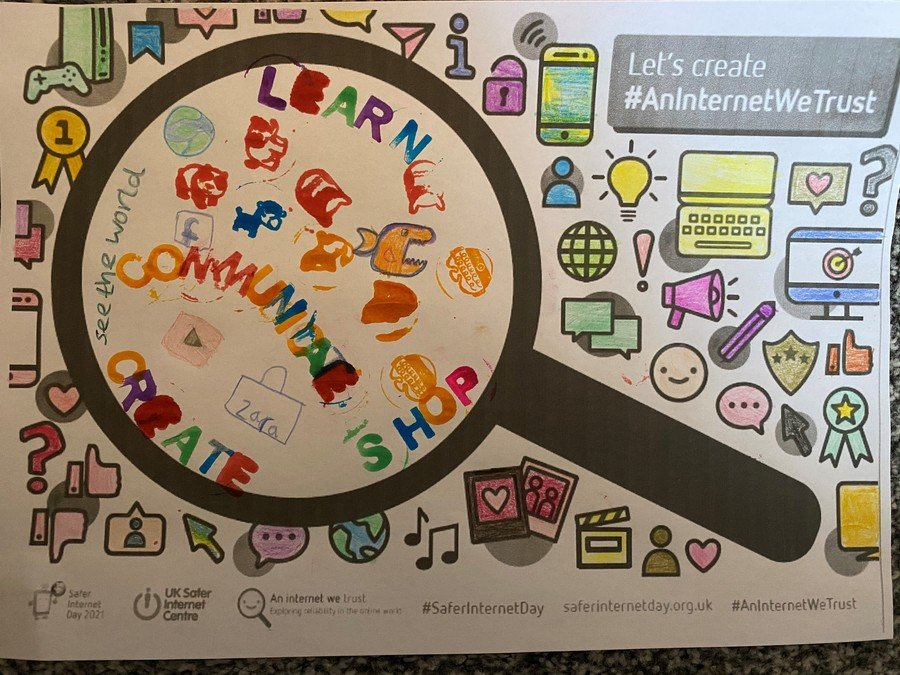 Gracie won the poster competition. She thought of lots of positive things we use the internet for. Well done, Gracie!