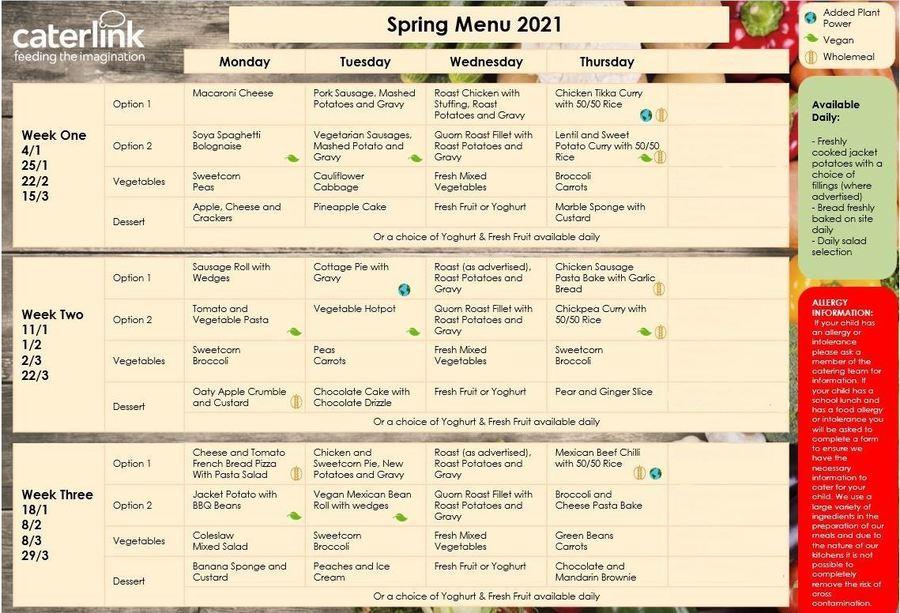Spring/Summer Menu 2021