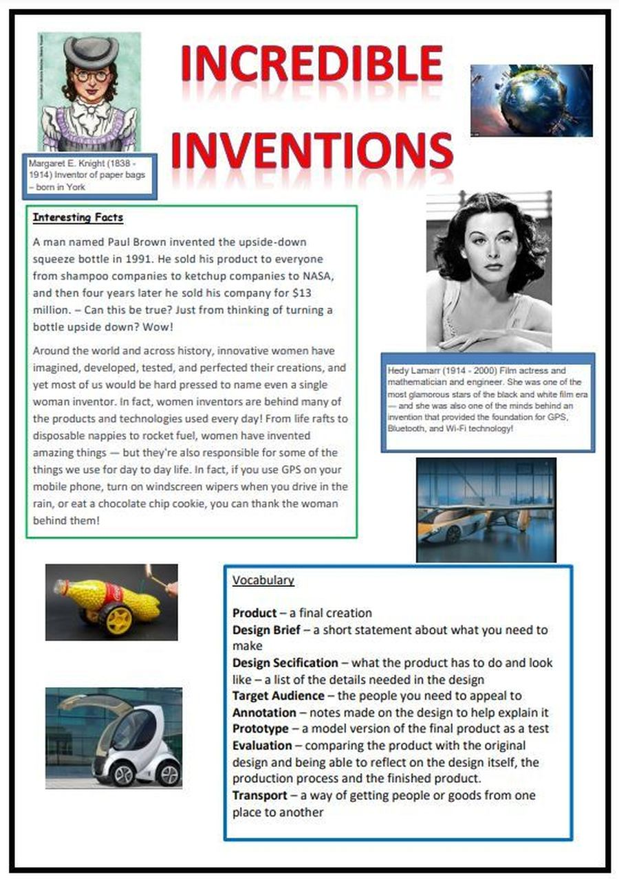 Incredible Inventions Knowledge Organiser