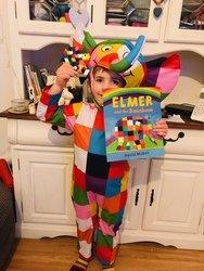 Jacob dressing up as Elmer