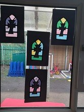 Reception have been making stained glass windows