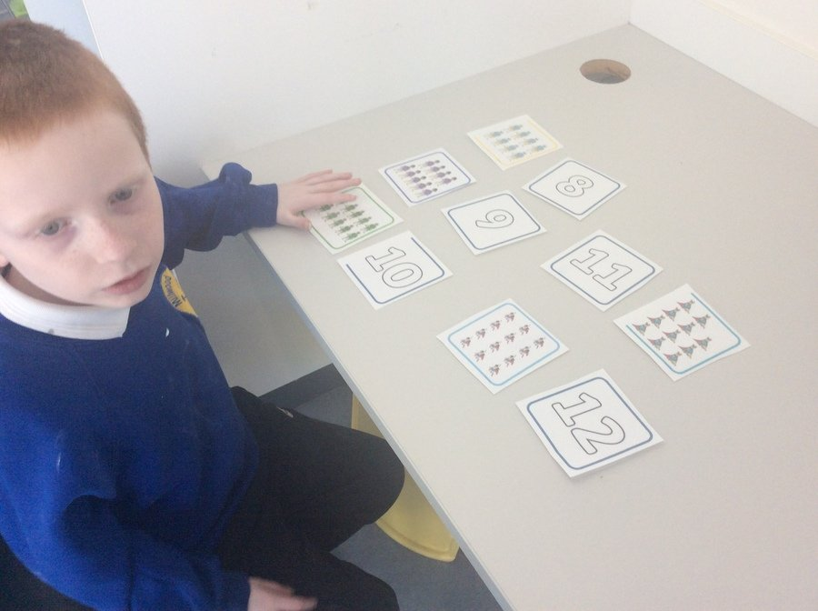 L is a Year 3 pupil, who matched the numerals to the correct amount of objects up to 12.Wow!
