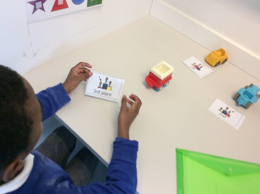 E is a Year 2 pupil who was able to identify which place each car had taken in their race across the classroom. Wonderful maths skills E!