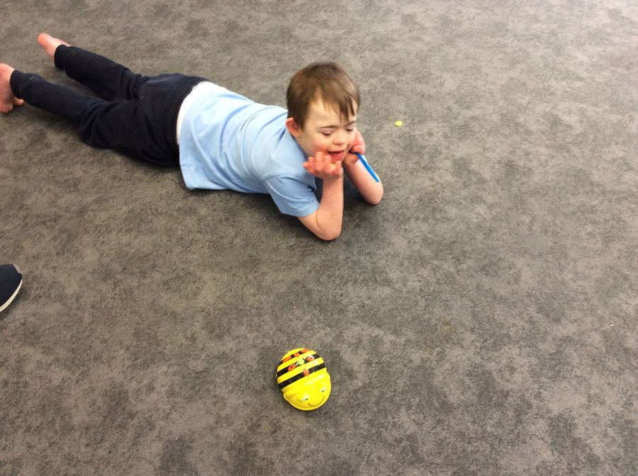 S, Year 5, Pathway 2. Computing.  He was so confident in controlling Beebots, pressing directions and recognising to press the go button to start the movements!