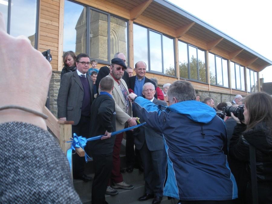 Nick Hewer prepares to open the new community centre.