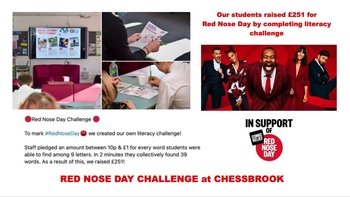 Literacy Challenge for Red Nose Day at Chessbrook