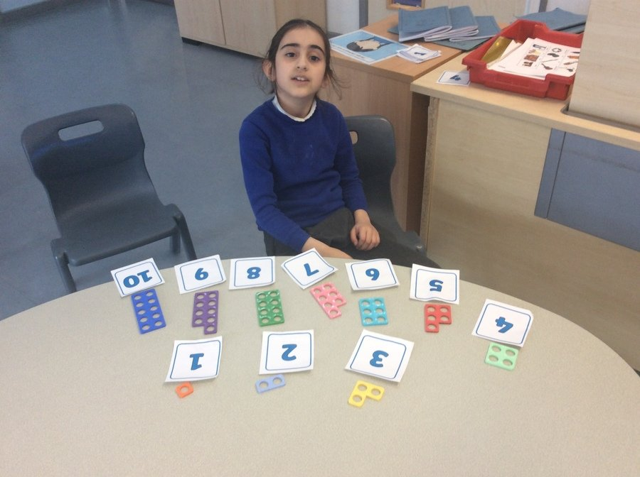P Year 3 Pathway 2- Number- P could confidently order the numicon pieces and match them with the correct numerals . Wonderful maths skills!