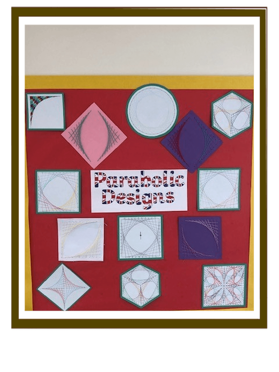Maths and Art skills applied in Parabolic Line Designs