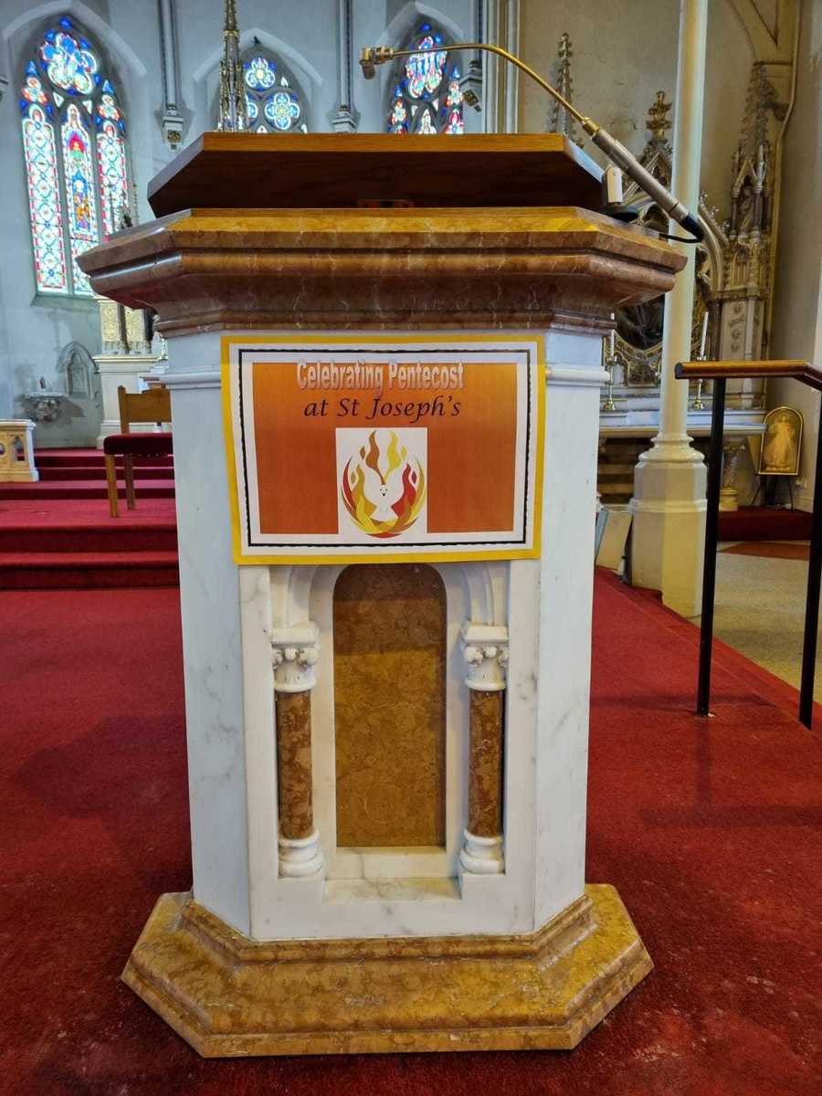 Happy Birthdayto the Church. We helped St Joseph's Church to celebrate Pentecost by decorating it with our artwork.