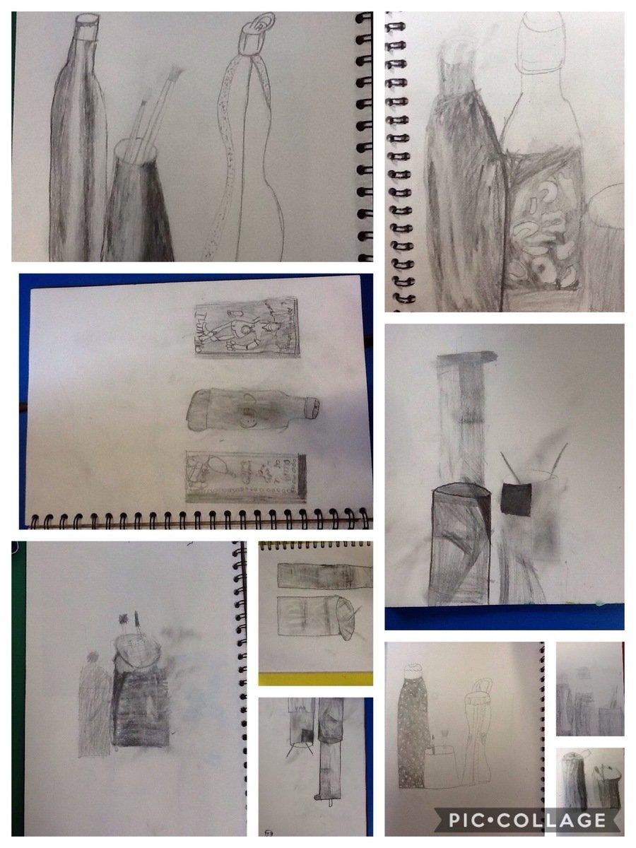 Still life drawing inspired by the artist Giorgio Morandi
