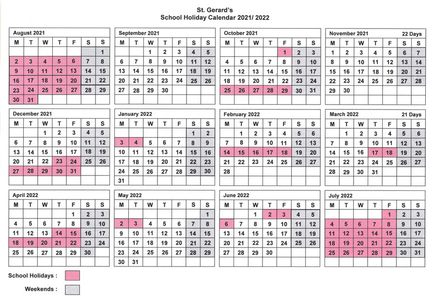 St. Gerard's School Calendar 2021-22