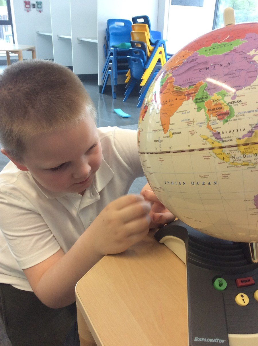 C is a Year 3 pupil who is on pathway 2. He showed an interest in the north and south pole and found them on the globe.