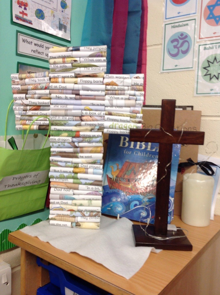 Year 3 have been looking at recycling. They have made a cross for the reflection area from old books.
