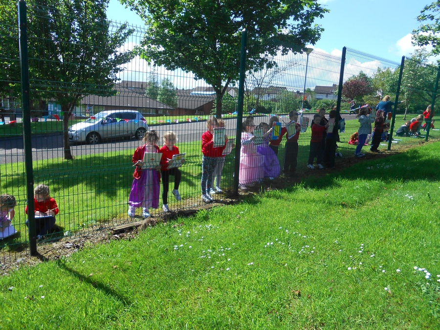 P.2 carry out a road traffic survey to monitor the flow of traffic outside the school gates.