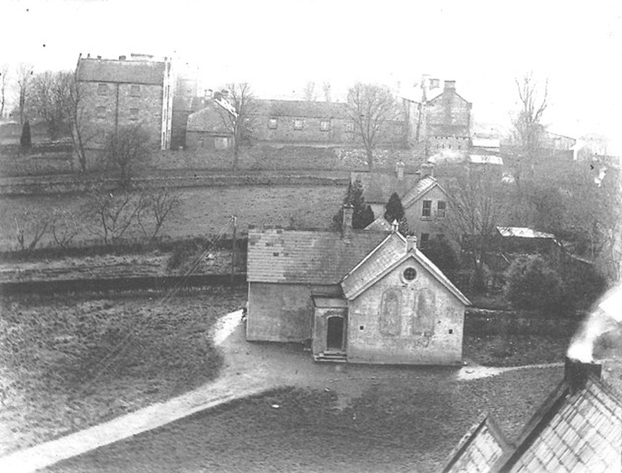 The Moat School moves to its present site. Note the gable wall facing you is still part of the original school. Can you see the workhouse and the old infirmary?