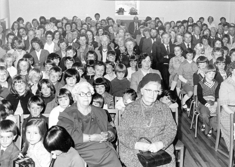 Guests and pupils at the Extension Opening Ceremony in 1979. Note two pupils in the front row- The Earl of Erne's son John Crichton (left) and Kathryn McClements (nee Kettyle) second left
