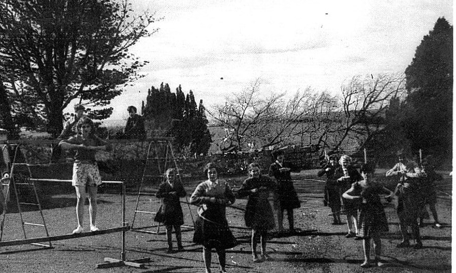 The girls doing some Physical Training at the Moat School. Note the ages of the pupils still at school.