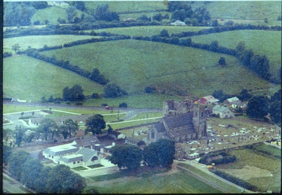 Aerial View of the school and church taken around 1980