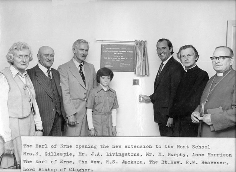 The Earl of Erne opens the school extension in 1979. From left, Mrs Gillespie (principal), Mr Joseph Livingston JP and member of the Board of Governors, Mr Michael Murphy (WELB), Anne Morrison, pupil, The Earl of Erne, Rev R. S Jackson and Rev R. W. Heavener, Bishop of Clogher