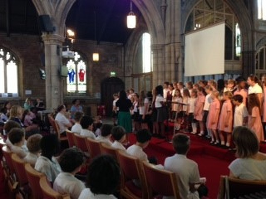 Our junior choir at the Year 6 Leavers service at St James Church