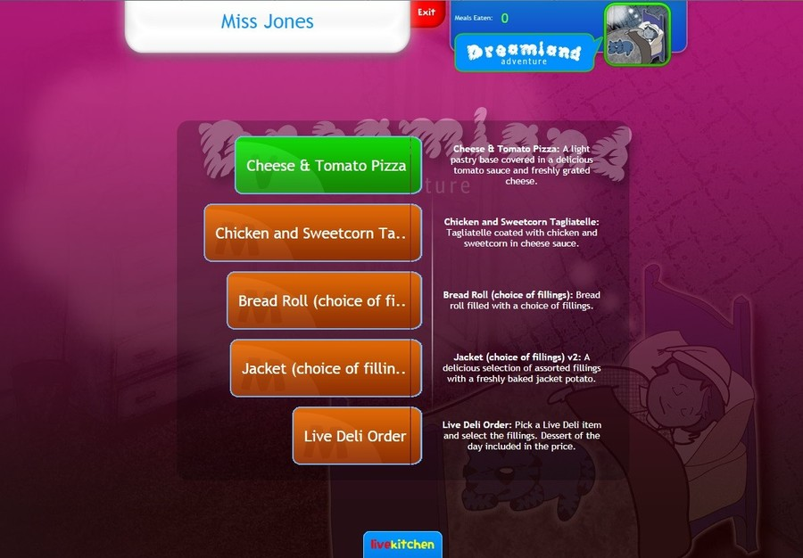 This image shows how the menu choice will be displayed to children.