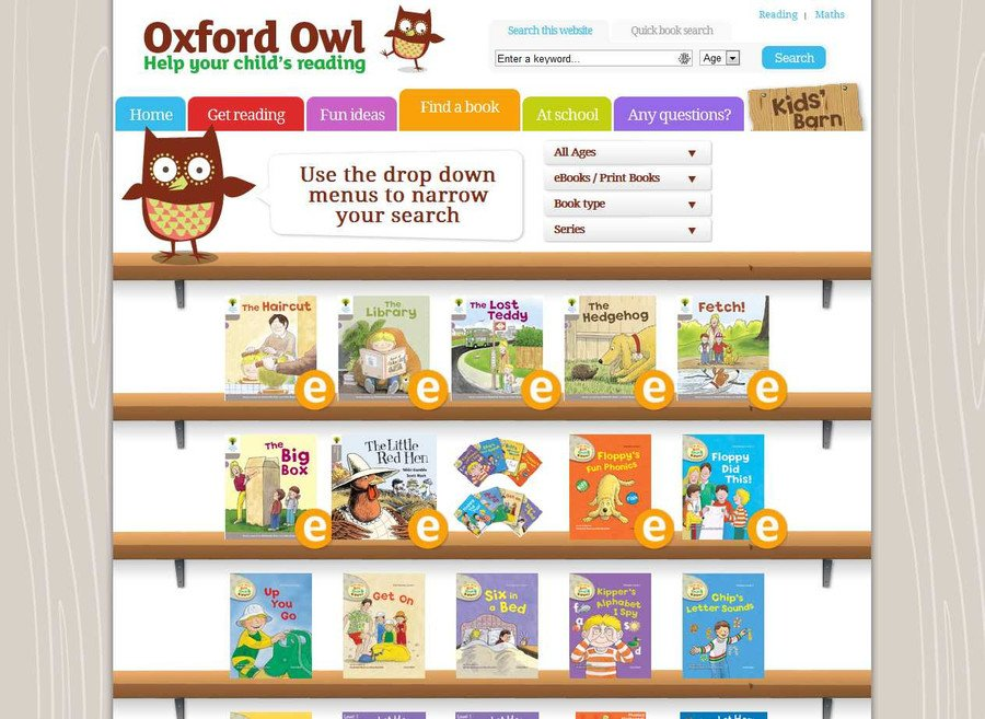 Oxford Owl Reading has 250 free eBooks for you to share with your child as well as simple ideas, top tips, activities and games to help your child with their reading at home