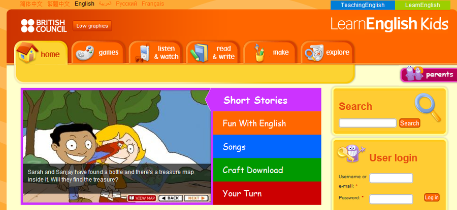 LearnEnglish Kids has lots of free online games, songs, stories and activities for children to have fun and learn English too.