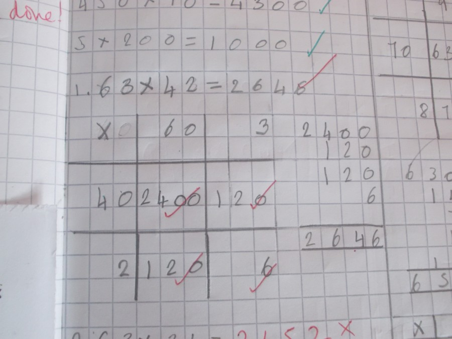 Using the Grid Method to Solve 63 x 42