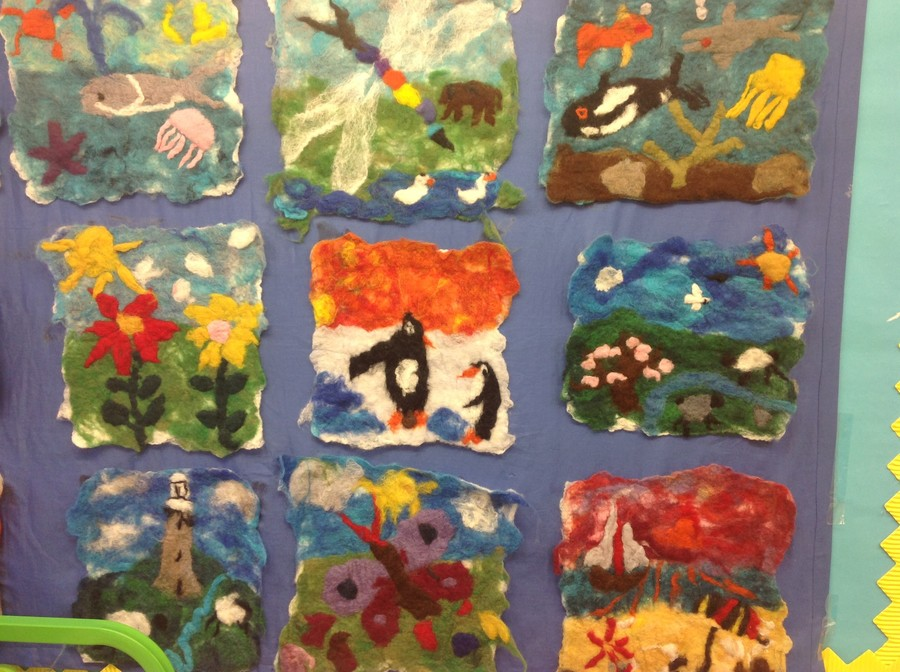 Class 2 created some images using felt.  They worked with a local artist.