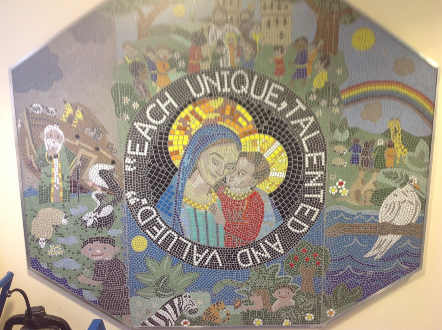 The mosaic in our school entrance was created using thousands of tiny tiles.