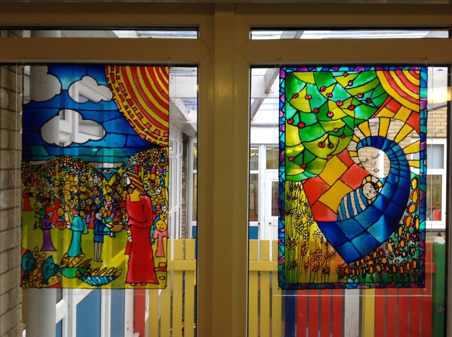 Each class designed and made their own stained glass window with a professional artist.