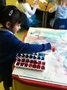 We had red, blue and purple paints!