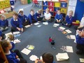Reception children playing a 'Tricky Words' game during our phonics learning.