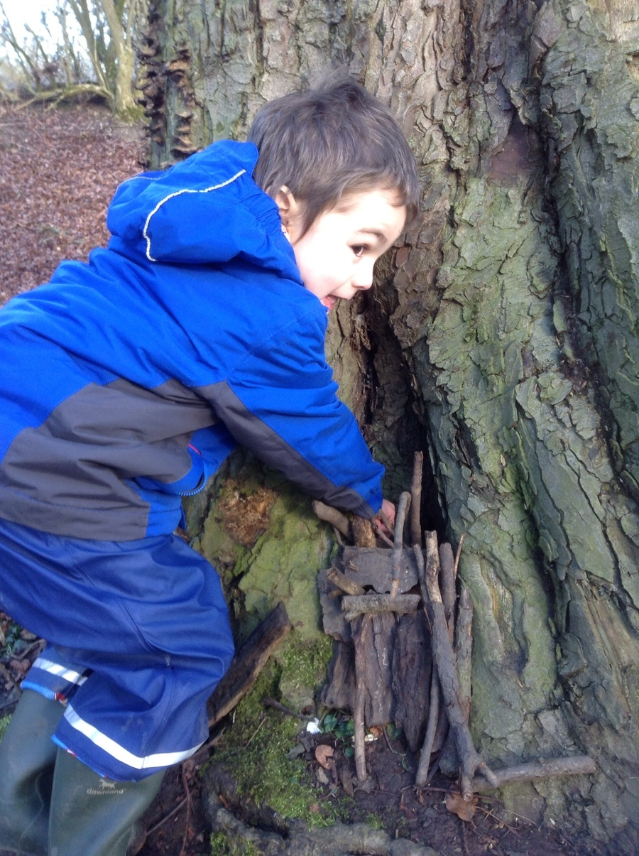 Oliver used a crack in a tree for his house.