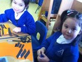 We used pieces of black paper to form their stripes.