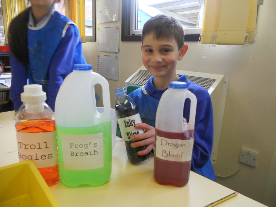 In Mathematics we measured the correct amounts of different mixtures to make a potion