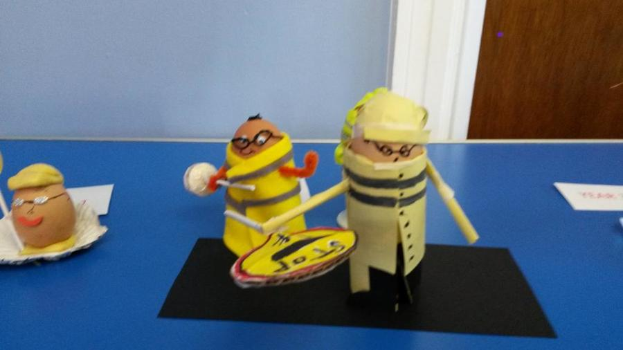 Some of the wonderful entries in our Spring Fayre 'Rod the Lollipop Man' egg competition.