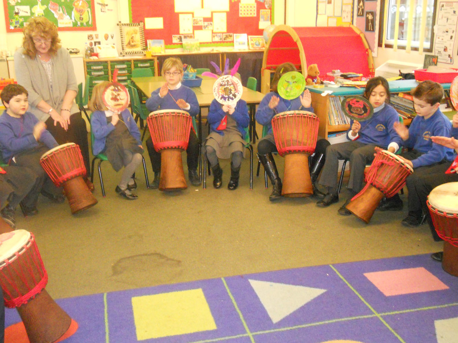 Djembe drumming at our tribal party