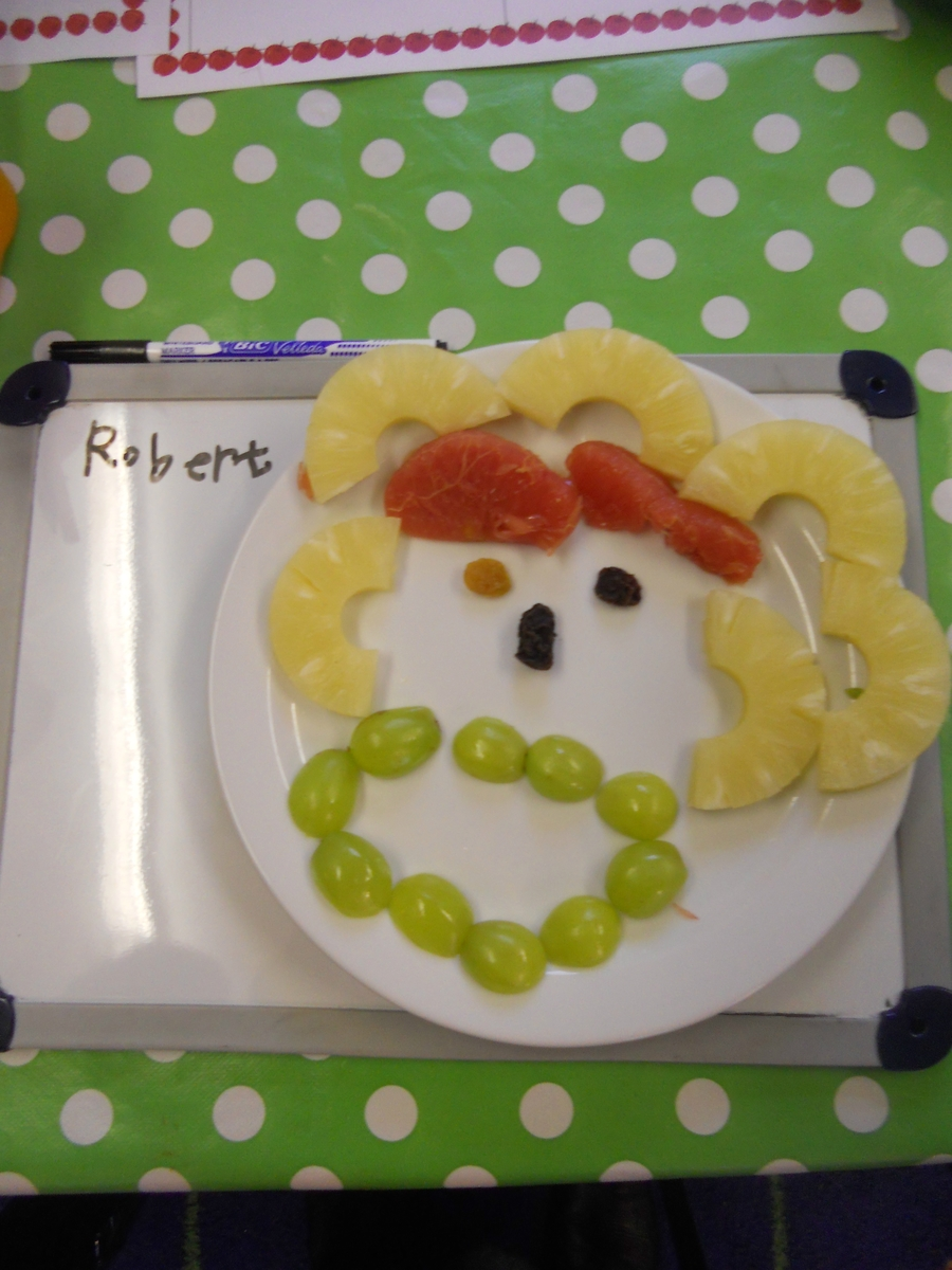 We made edible self portraits out of fruit