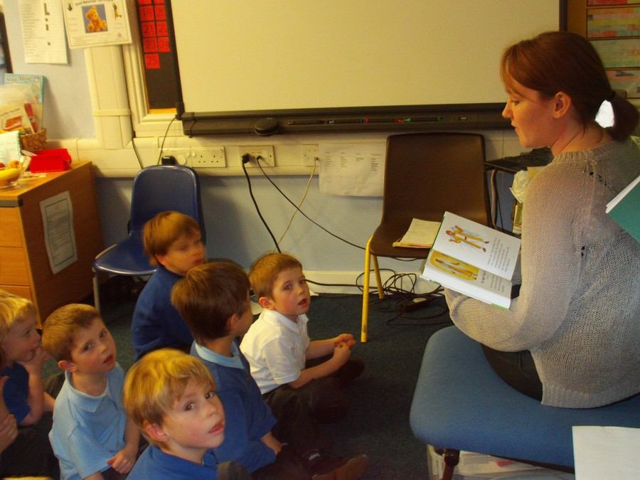Class 1 listen to Bible stories