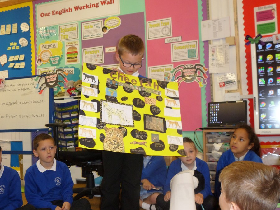 Billy showing his super homework project!