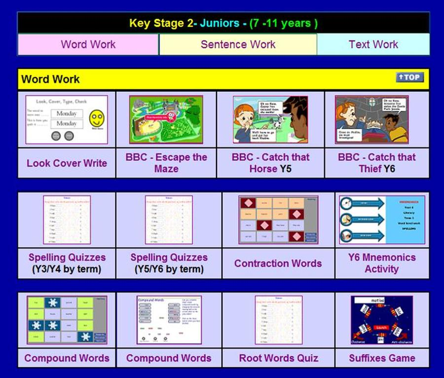 Ingrow Primary School - KS2 Games Links