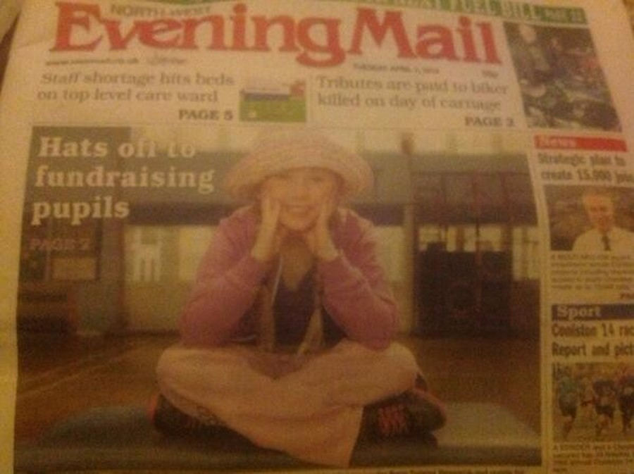 We were featured in the local paper for our fundraising for 'Alice's Escapes', and the National Brain Cancer Association.  We wore purple as that was Alice's favourite colour before she passed away earlier this year.
