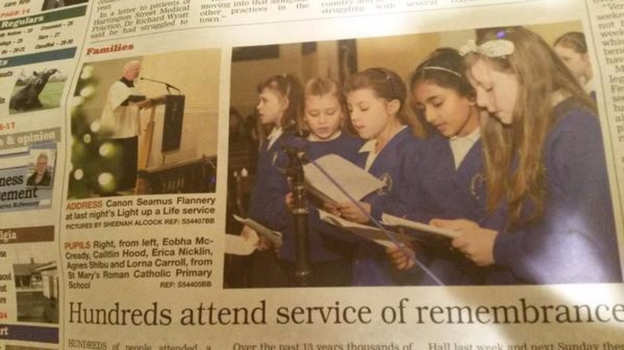 The choir sang at the St. Mary's Hospice 'Light up a Life' service on 8th December 2014.  The service is an opportunity for the families of people who have spent time in the hospice, to remember them and celebrate their lives.  Each person remembered was represented by a special light on the Christmas tree.