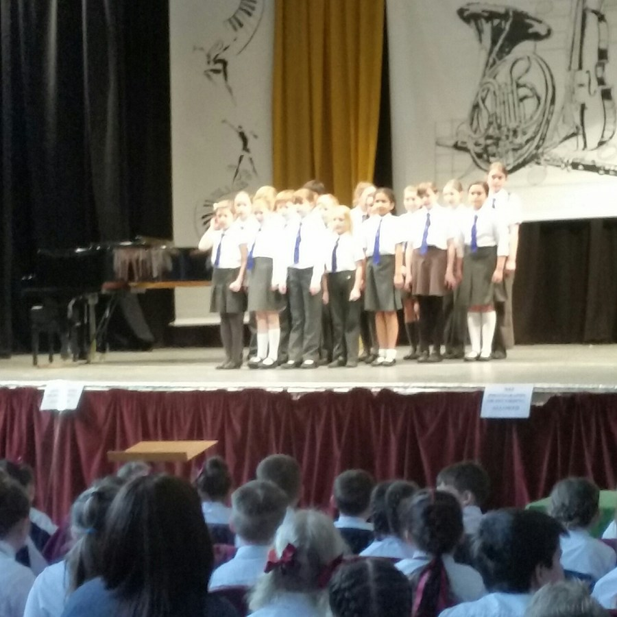 Our School Choir performing in the Hymn Singing category on stage at the Coronation Hall on 26th March 2015.
