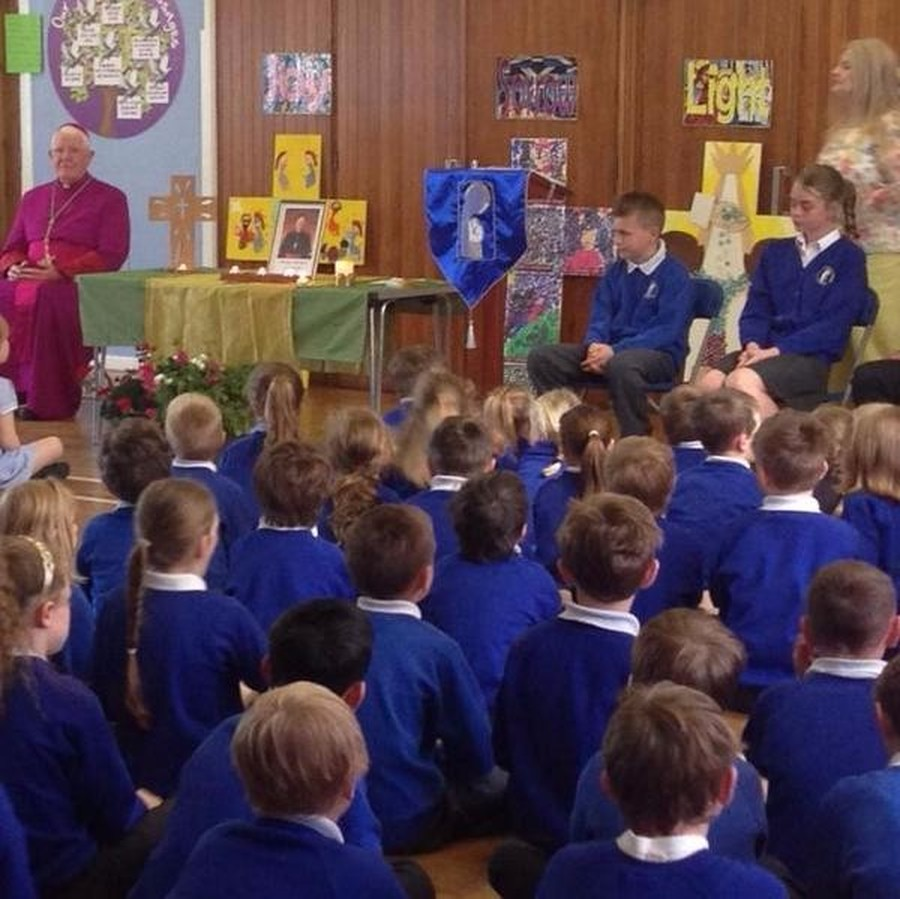 We were honoured when Bishop Micahel Campbell, Bishop of Lancaster, visited our school on 8th June.  He took part in our morning Prayer and Liturgy and blessed all of the children and staff.