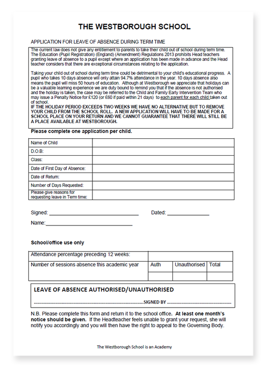 Download Leave of Absence in Term Time form